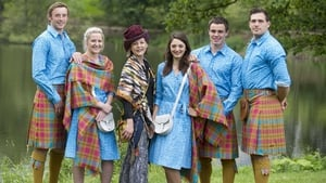 Scott Wright (Rugby 7s) Frania Gillen-Buchart (Squash) designer Jilli Blackwood, Charline Joiner (Cycling), Lee Jones (Rugby 7's) and Sean Lamont (Rugby 7s) in the Scottish opening ceremony costume for the Commonwealth Games