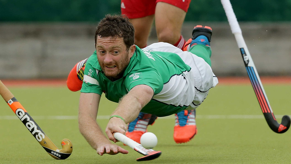 Ireland's John Jackson stretches for a ball during an international against England