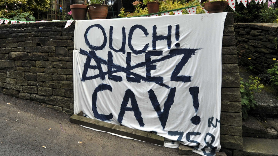 A reference to the crash of Mark Cavendish on Stage 1 of the Tour de France