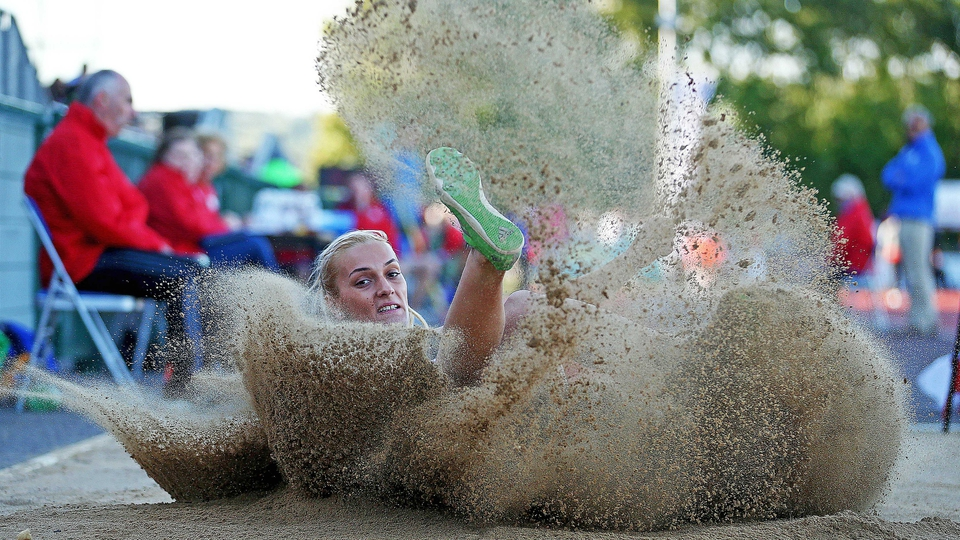 Christina Sandu of Romania competes in the long jump at the Cork City Sports event