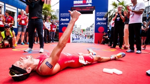 Jan Frodeno of Germany reacts after finishing the Ironman Frankfurt on Sunday