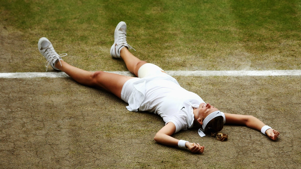 Petra Kvitova celebrates after beating Eugenie Bouchard to win Wimbledon on Saturday