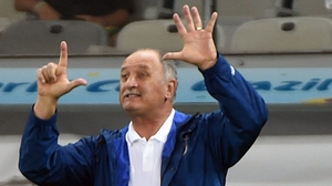Luiz Felipe Scolari gestures during the semi-final defeat to Germany