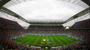 Both teams came out to a raucous crowd in the Arena Corinthians