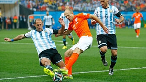Argentina defender Pablo Zabaleta had his work cut out for him covering Netherlands forward Arjen Robben, who had performed marvellously in the tournament so far