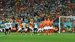 Argentina's star forward Lionel Messi took the first of a few free kicks in the first half