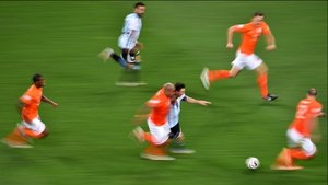 The chess match of the first stretched right on through to the second, where Netherlands midfielder Nigel de Jong continued to stick to Messi like a hawk on their blitzes up and down the pitch