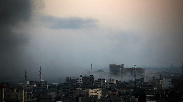 Smoke rises over Gaza after another night of air strikes