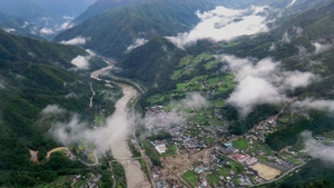 A landslide in Nagiso town in central Japan after Typhoon Neoguri brought heavy rains