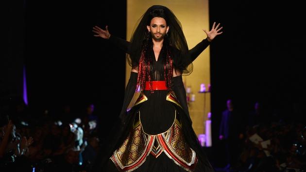 Conchita Wurst models for Jean Paul Gaultier