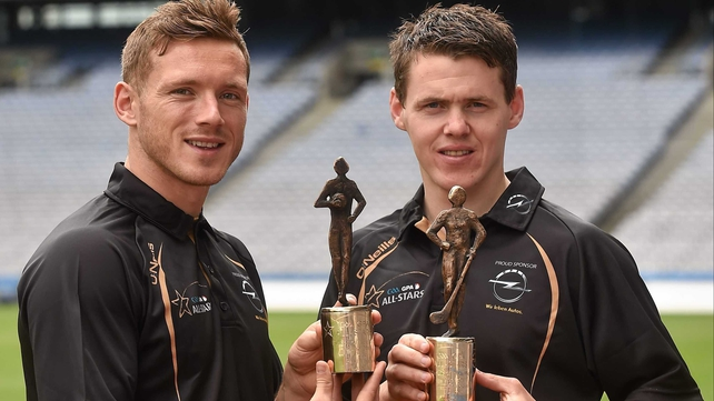 Paul Flynn of Dublin (L) and TJ Reid of Kilkenny with the June GAA/GPA Player of the Month awards