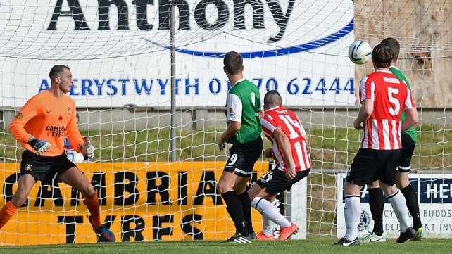 Michael Duffy opens the scoring on a night when Derry City went on to achieve a record scoreline for a League of Ireland club in European competition