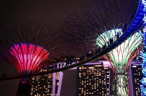 Marina Bay Sands resort is seen in background