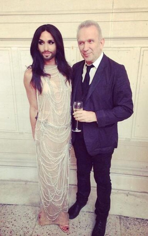 Eurovision winner Conchita Wurst took to Twitter to express her excitement after walking the catwalk, sharing a picture with designer Jean Paul Gaultier.