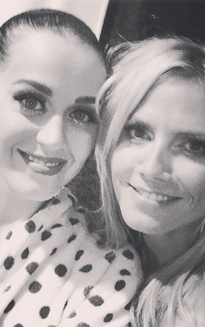 """Supermodel Heidi Klum posted a selfie with Katy Perry on her Instagram, captioning it with: """"Katy you Rock!!!"""""""