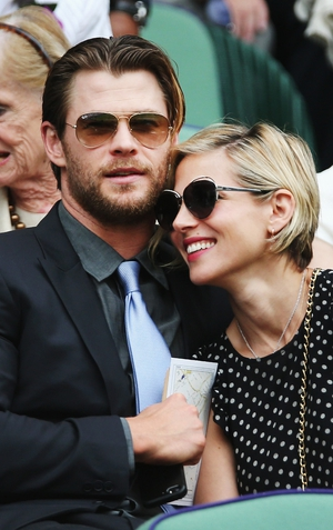 Chris Hemsworth and Elsa Pataky in the Royal Box on Centre Court before the Gentlemen's Singles Final match between Roger Federer and Novak Djokovic.