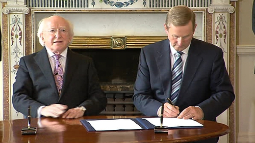 Taoiseach Enda Kenny with President Michael D Higgins