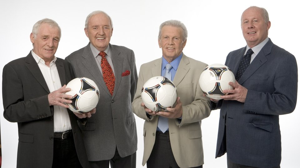 With Eamon Dunphy, John Giles, and Liam Brady in 2012