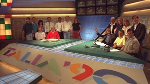 With the analysts and crew during Italia '90