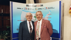 With the Memory Man, Jimmy Magee, at the draw for the 1994 World Cup