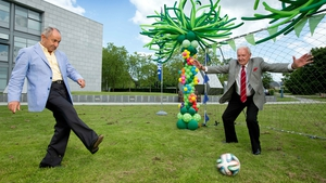 Bill displaying - let's be honest - not entirely impressive goalkeeping skills faced with an Ossie Ardiles effort at the launch of RTÉ's World Cup 2014 coverage