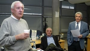 With Eamon Dunphy and John Giles in the RTÉ Sport offices in 2005