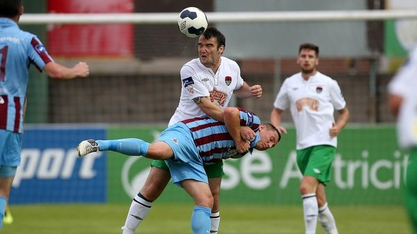 Drogheda's Gary O'Neill and Gavin Kavanagh of Cork City battle for possession at Hunky Dorys Park