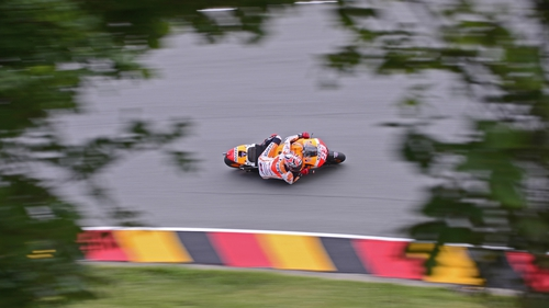An overhead shot of Marc Marquez in action at the Sachsenring on Saturday