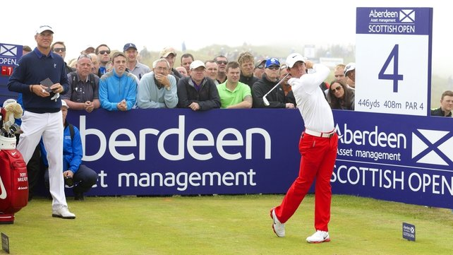 Rory McIlroy tees off at the fourth hole today