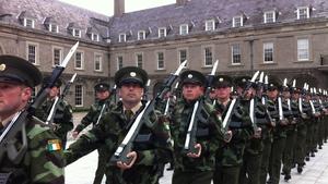 Troops pass through the yard at Royal Hospital Kilmainham