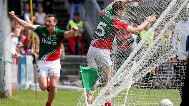 Lee Keegan hits the back of the net after scoring Mayo's first goal as Cillian O'Connor celebrates setting him up