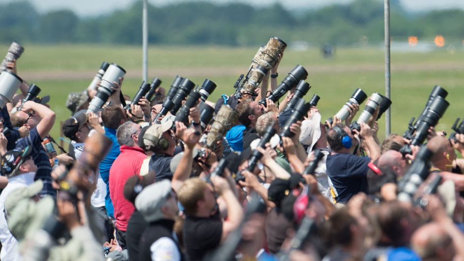 An airshow in Britain attracts photographers from around the world