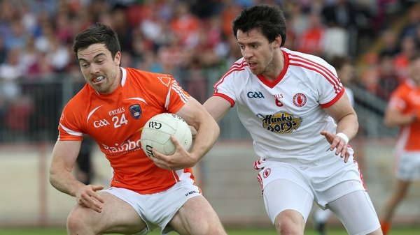 Armagh's Aidan Forker (L) and Matthew Donnelly of Tyrone