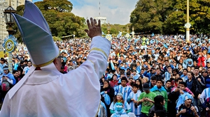 A man dressed up as Pope Francis blessed a crowd in the Argentinian capital