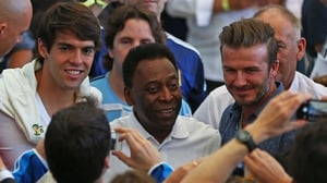 Brazilian greats Kaka and Pele posed for photos with David Beckham