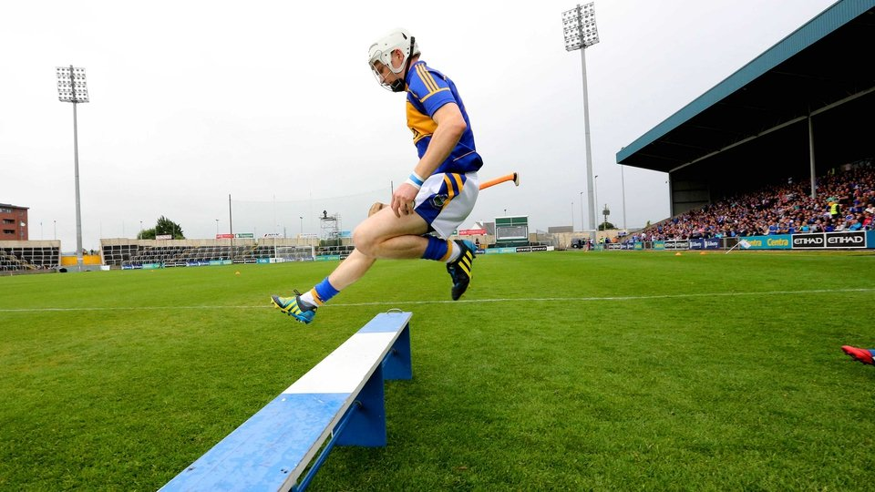 Tipperary's Brendan Maher leads out the team ahead of their qualifier clash with Offaly