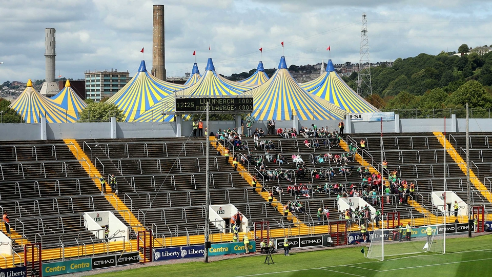 A circus big top in the background ahead of the Munster hurling decider
