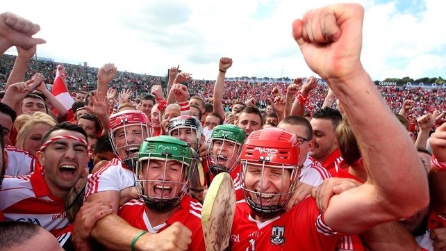 Cork players supporters celebrate the six-point win over Limerick on 13 July