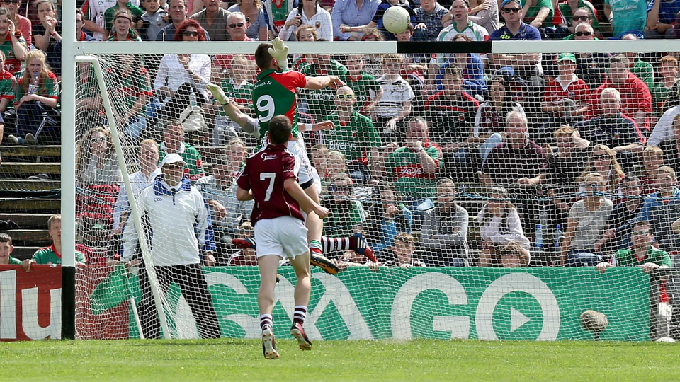 Barry Moran of Mayo scores his side's third goal in the Connacht football decider