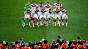 Eventually, the German team lined up to have the moment frozen in time