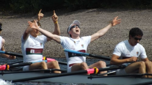 NUIG Grainne Mhaol celebrate winning the Irish Rowing Championships men's senior eight