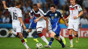 Messi vied with Germany's midfielder and captain Phillipp Lahm to make his presence known