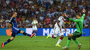 Argentina forward Rodrigo Palacio - steered ahead by his majestic rat tail - should have scored in the first period of extra time, but was prevented by a fearless Neuer who charged ahead