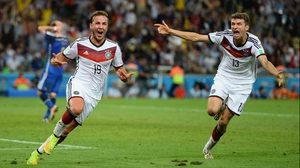Goetze and Mueller celebrated the crucial score, which put the Germans up 1-0 with seven minutes left to play