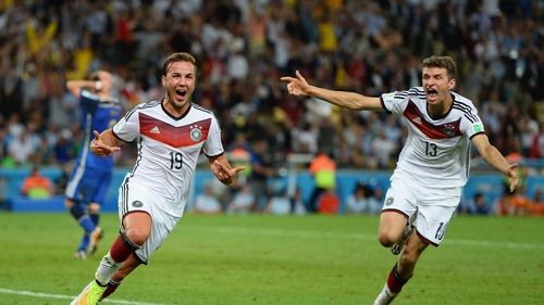 Mario Goetze celebrates the goal which landed the World Cup for Germany