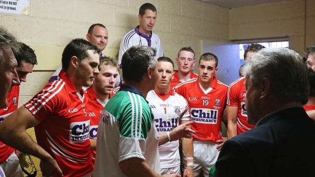 TJ Ryan congratulates the Cork players