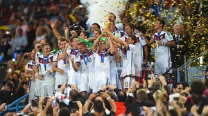 And the German players triumphantly raised the World Cup trophy, to bring this spectacular go-around to a close