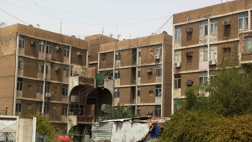 Apartment blocks in Baghdad's Zayouna district where gunmen killed the women