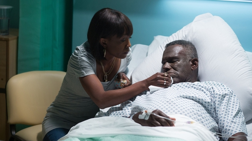 "Walker with co-star Diane Parish - ""For Patrick, strokes are things that happen to other people"""