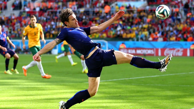 Daryl Janmaat in action for the Netherlands during the World Cup